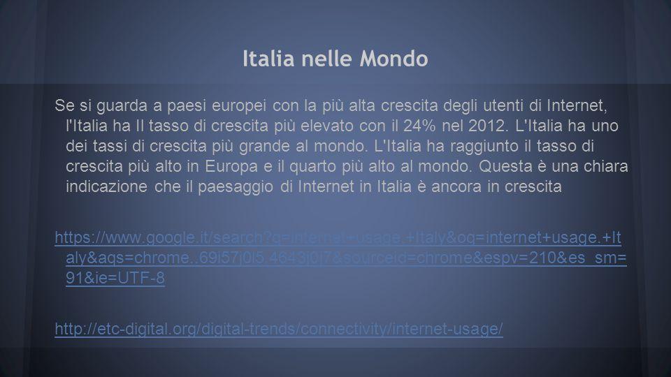 Italia nelle Mondo Se si guarda a paesi europei con la più alta crescita degli utenti di Internet, l'Italia ha Il tasso di crescita più elevato con il