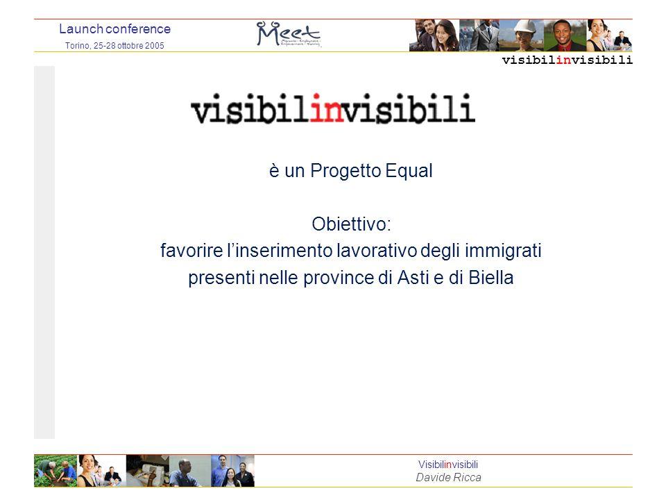 visibilinvisibili Launch conference Torino, 25-28 ottobre 2005 Visibilinvisibili Davide Ricca è un Progetto Equal Obiettivo: favorire l'inserimento lavorativo degli immigrati presenti nelle province di Asti e di Biella