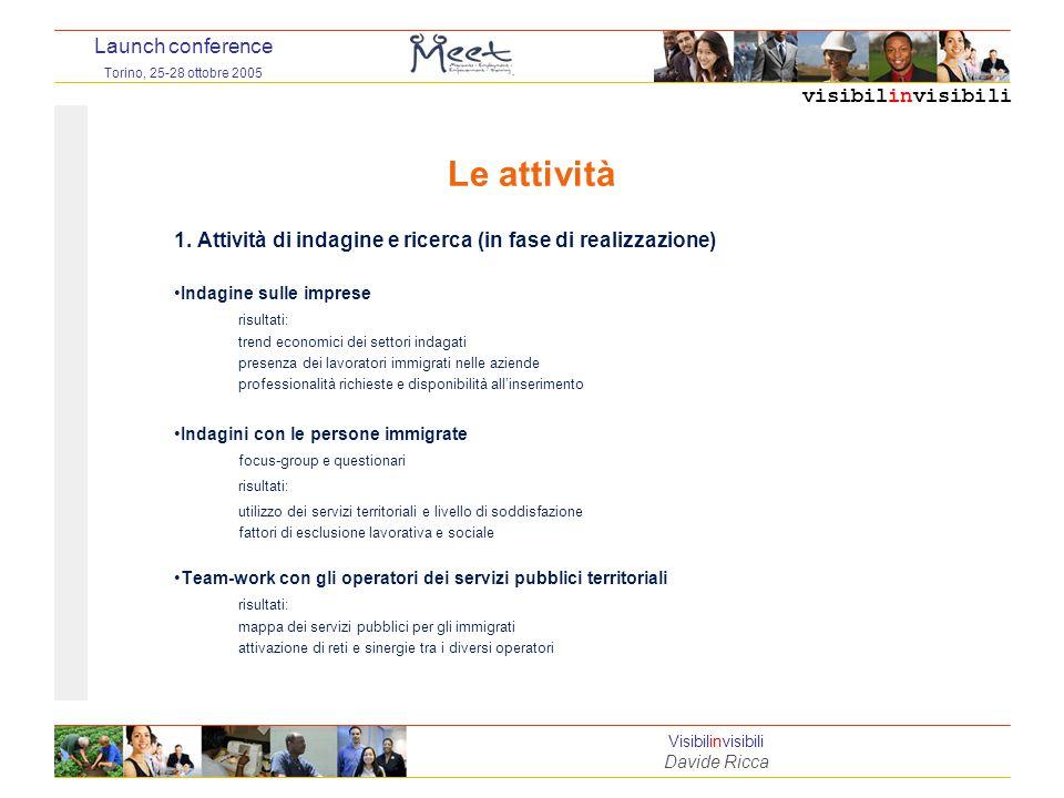 visibilinvisibili Launch conference Torino, 25-28 ottobre 2005 Visibilinvisibili Davide Ricca Le attività 1.
