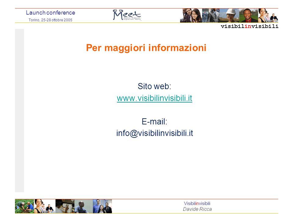 visibilinvisibili Launch conference Torino, 25-28 ottobre 2005 Visibilinvisibili Davide Ricca Per maggiori informazioni Sito web: www.visibilinvisibili.it E-mail: info@visibilinvisibili.it
