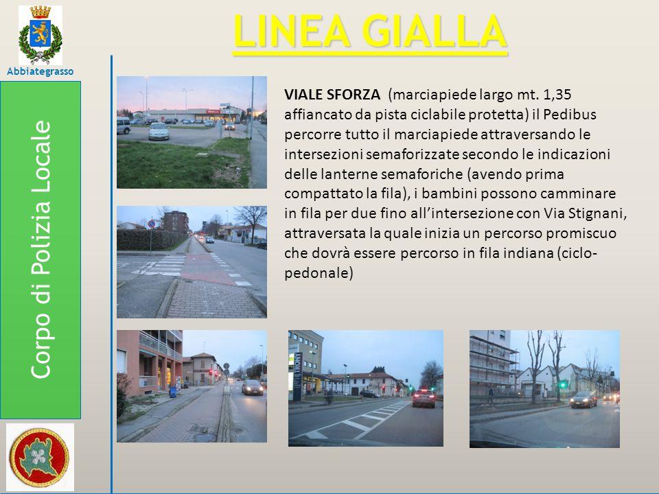 Corpo di Polizia Locale Abbiategrasso LINEA GIALLA VIALE SFORZA (marciapiede largo mt. 1,35 affiancato da pista ciclabile protetta) il Pedibus percorr