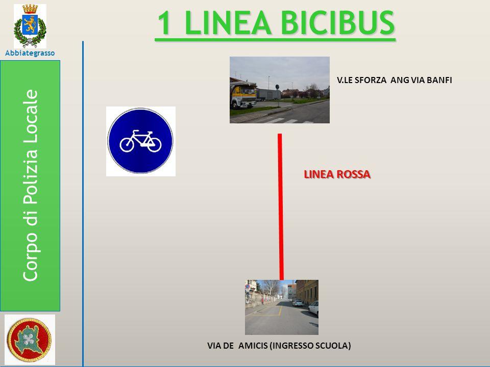 Corpo di Polizia Locale Abbiategrasso 1 LINEA BICIBUS V.LE SFORZA ANG VIA BANFI VIA DE AMICIS (INGRESSO SCUOLA) LINEA ROSSA