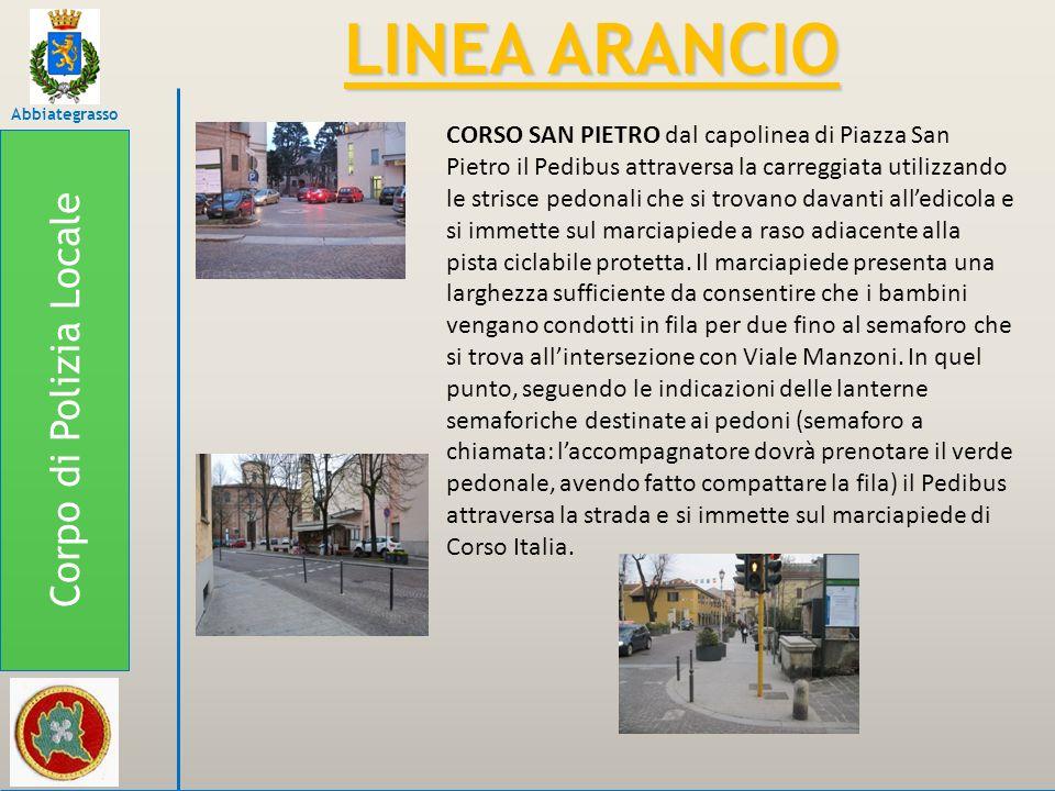 Corpo di Polizia Locale Abbiategrasso LINEA ARANCIO CORSO SAN PIETRO dal capolinea di Piazza San Pietro il Pedibus attraversa la carreggiata utilizzan