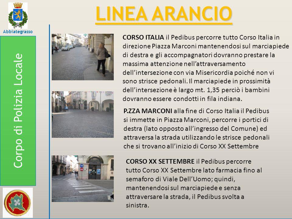 CORSO ITALIA il Pedibus percorre tutto Corso Italia in direzione Piazza Marconi mantenendosi sul marciapiede di destra e gli accompagnatori dovranno p
