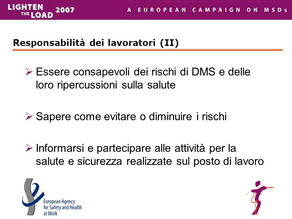 Responsabilità dei lavoratori (II)  Essere consapevoli dei rischi di DMS e delle loro ripercussioni sulla salute  Sapere come evitare o diminuire i