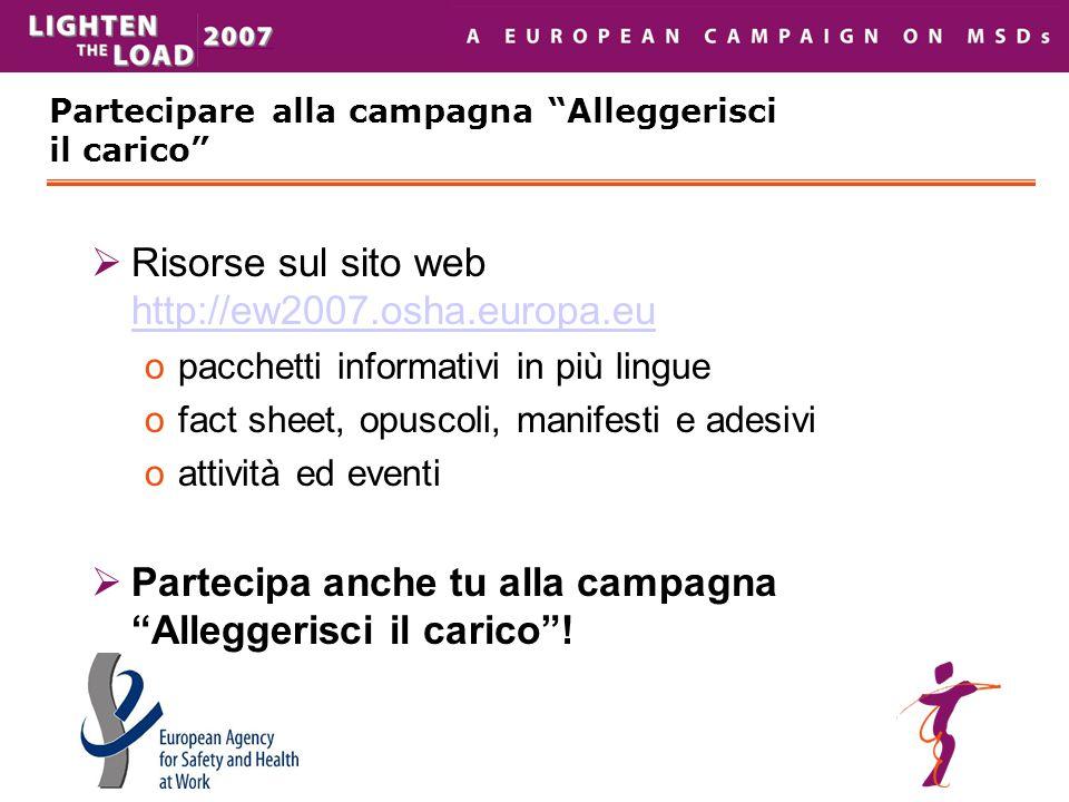 """Partecipare alla campagna """"Alleggerisci il carico""""  Risorse sul sito web  http://ew2007.osha.europa.eu http://ew2007.osha.europa.eu opacchetti infor"""