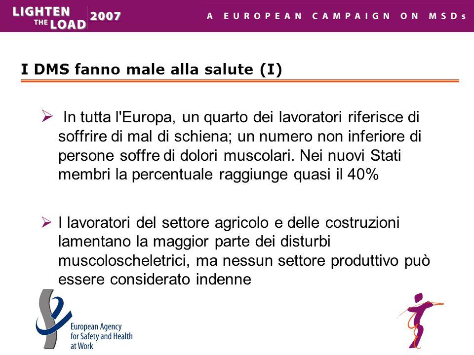 I DMS fanno male alla salute (I)  In tutta l'Europa, un quarto dei lavoratori riferisce di soffrire di mal di schiena; un numero non inferiore di per