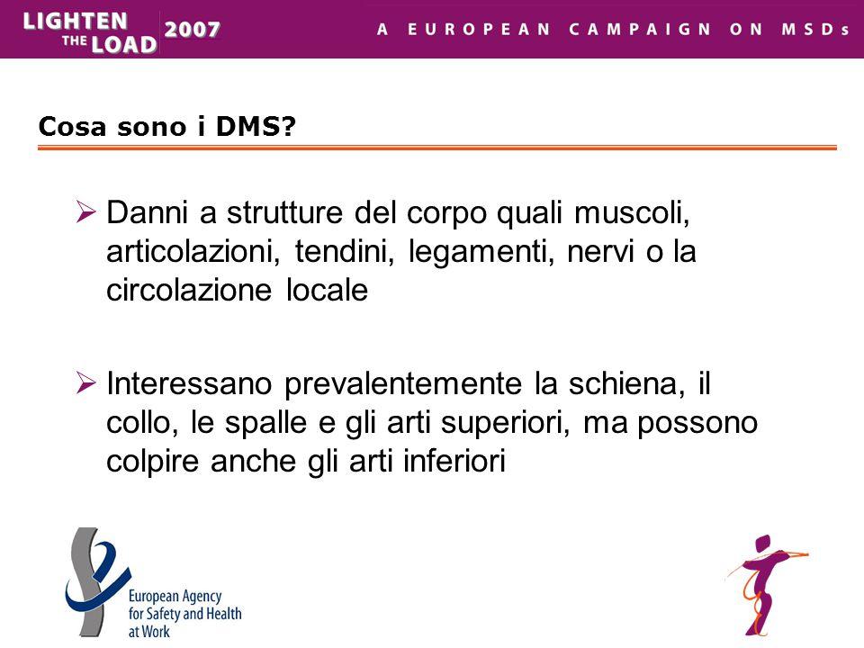 Cosa sono i DMS?  Danni a strutture del corpo quali muscoli, articolazioni, tendini, legamenti, nervi o la circolazione locale  Interessano prevalen