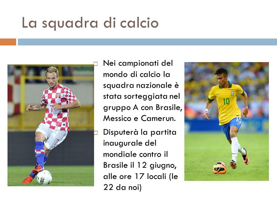 La squadra di calcio  Nei campionati del mondo di calcio la squadra nazionale è stata sorteggiata nel gruppo A con Brasile, Messico e Camerun.  Disp