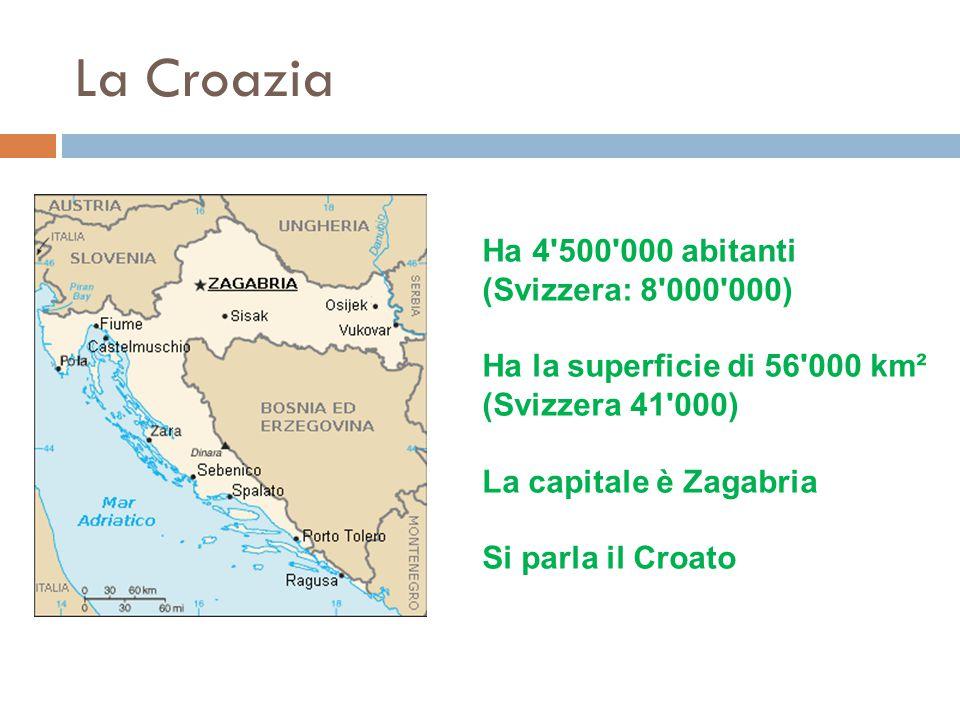 La Croazia Ha 4'500'000 abitanti (Svizzera: 8'000'000) Ha la superficie di 56'000 km² (Svizzera 41'000) La capitale è Zagabria Si parla il Croato