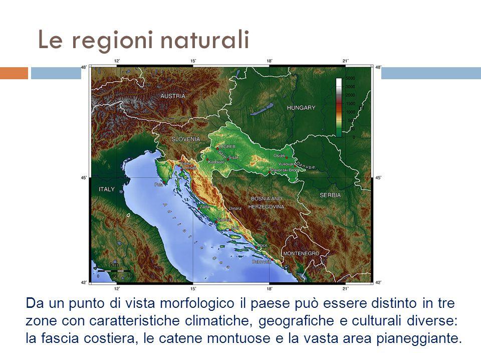 Le regioni naturali Da un punto di vista morfologico il paese può essere distinto in tre zone con caratteristiche climatiche, geografiche e culturali