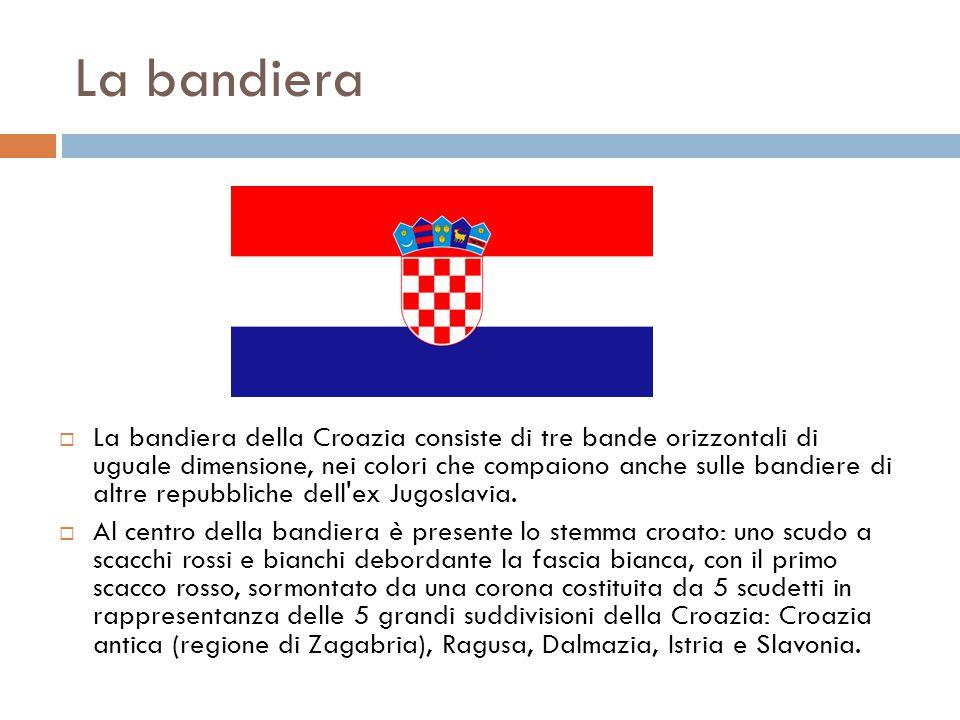 La bandiera  La bandiera della Croazia consiste di tre bande orizzontali di uguale dimensione, nei colori che compaiono anche sulle bandiere di altre