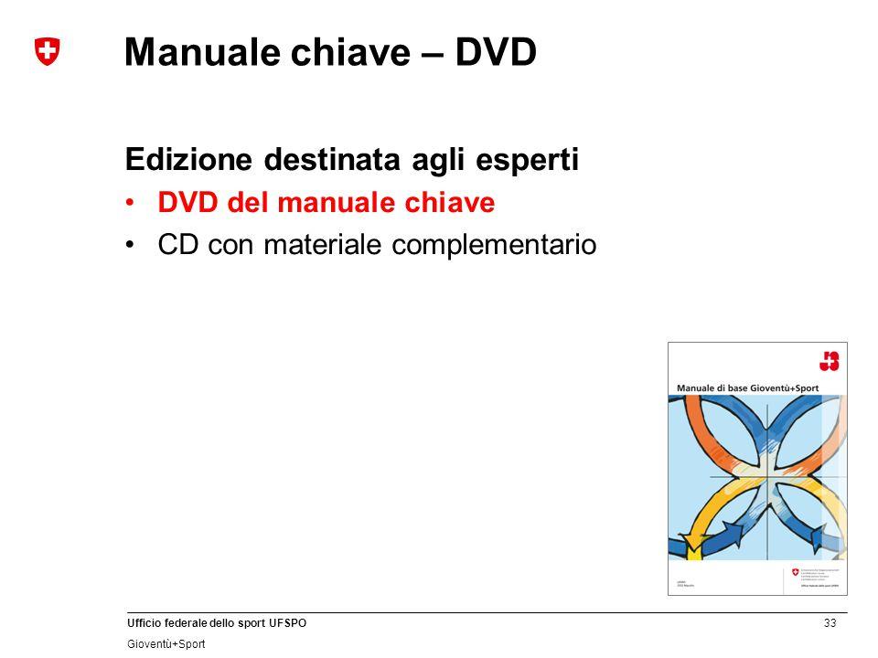33 Ufficio federale dello sport UFSPO Gioventù+Sport Manuale chiave – DVD Edizione destinata agli esperti DVD del manuale chiave CD con materiale comp