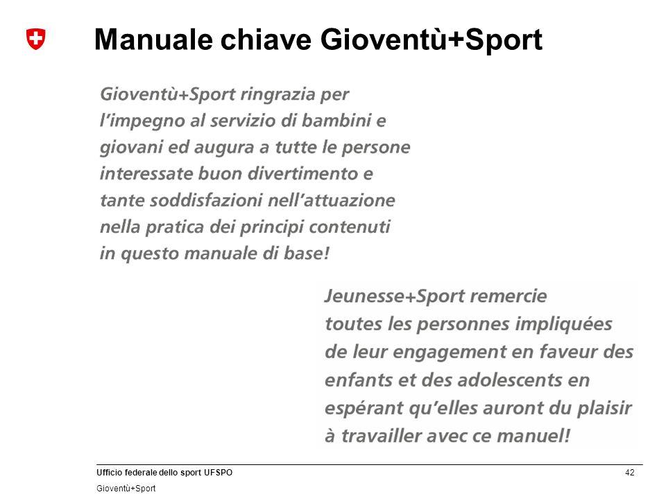42 Ufficio federale dello sport UFSPO Gioventù+Sport Manuale chiave Gioventù+Sport