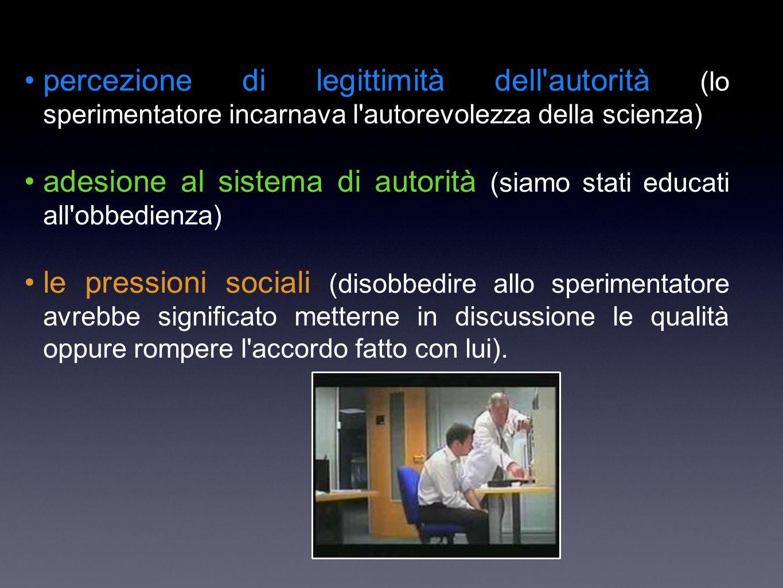 percezione di legittimità dell'autorità (lo sperimentatore incarnava l'autorevolezza della scienza) adesione al sistema di autorità (siamo stati educa