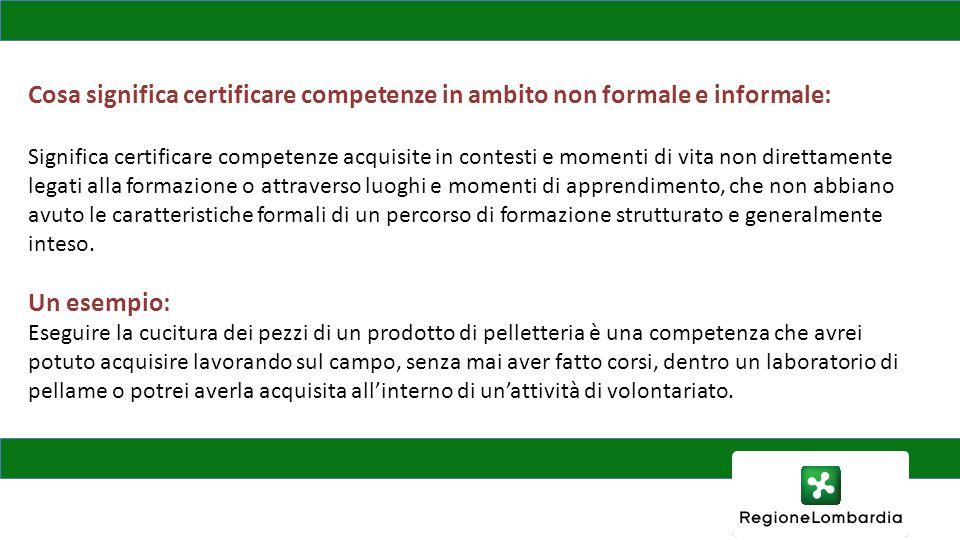 Cosa significa certificare competenze in ambito non formale e informale: Significa certificare competenze acquisite in contesti e momenti di vita non