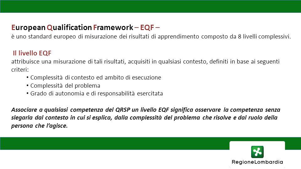 European Qualification Framework – EQF – è uno standard europeo di misurazione dei risultati di apprendimento composto da 8 livelli complessivi. Il li