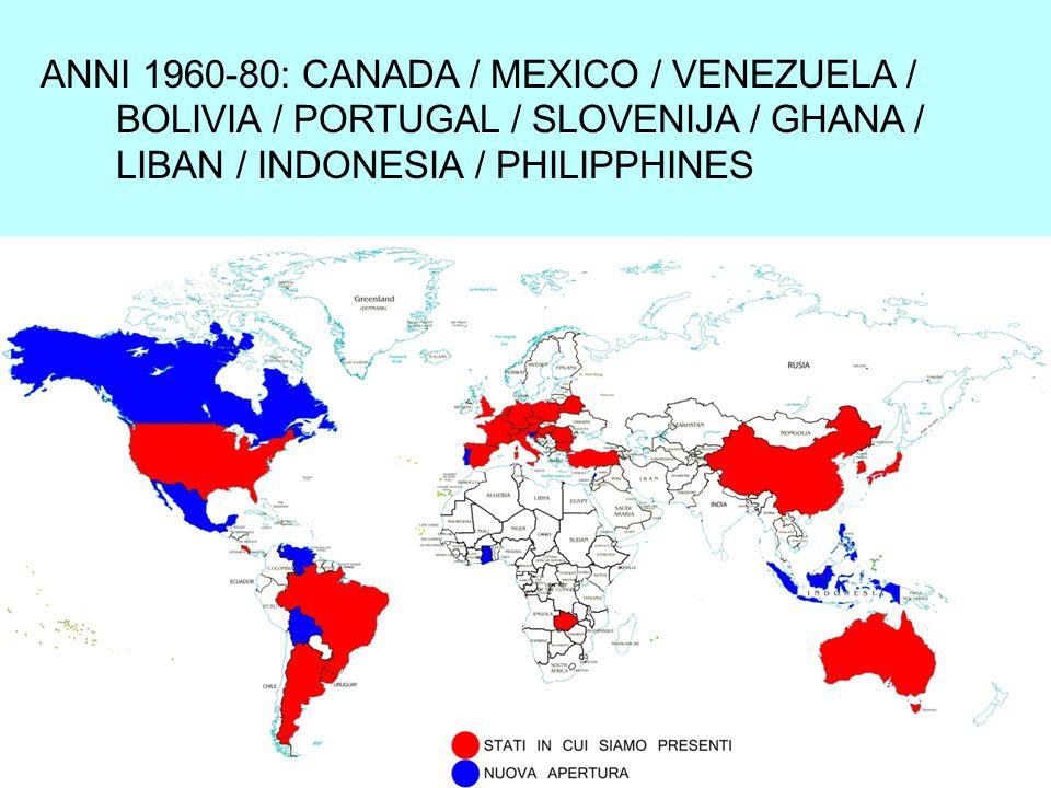 ANNI 1960-80: CANADA / MEXICO / VENEZUELA / BOLIVIA / PORTUGAL / SLOVENIJA / GHANA / LIBAN / INDONESIA / PHILIPPHINES
