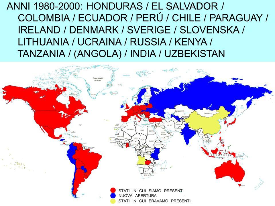 ANNI 1980-2000: HONDURAS / EL SALVADOR / COLOMBIA / ECUADOR / PERÚ / CHILE / PARAGUAY / IRELAND / DENMARK / SVERIGE / SLOVENSKA / LITHUANIA / UCRAINA / RUSSIA / KENYA / TANZANIA / (ANGOLA) / INDIA / UZBEKISTAN