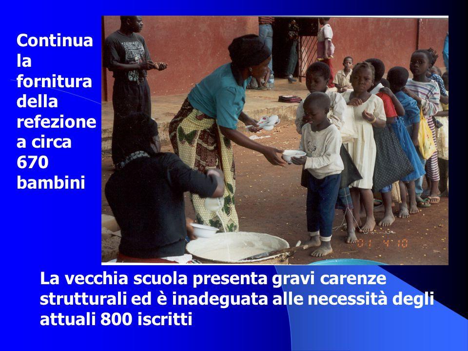 Continua la fornitura della refezione a circa 670 bambini La vecchia scuola presenta gravi carenze strutturali ed è inadeguata alle necessità degli at