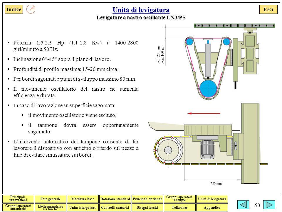 Esci Foto generaleMacchina baseDotazione standardPrincipali opzionali Gruppi operatori e toupie Gruppi operatori automatici Disegni tecniciTolleranzeControlli numerici Elettromandrino con HSK 63F Indice Unità interpolanti Unità di levigatura Principali innovazioni Appendice Francesco Adorante 53 Unità di levigatura Unità di levigatura Levigatore a nastro oscillante LN3/PS Unità di levigatura Potenza 1,5-2,5 Hp (1,1-1,8 Kw) a 1400-2800 giri/minuto a 50 Hz.