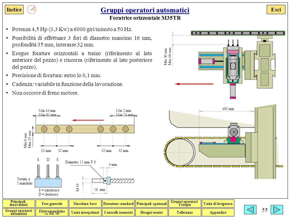 Esci Foto generaleMacchina baseDotazione standardPrincipali opzionali Gruppi operatori e toupie Gruppi operatori automatici Disegni tecniciTolleranzeControlli numerici Elettromandrino con HSK 63F Indice Unità interpolanti Unità di levigatura Principali innovazioni Appendice Francesco Adorante 55 Gruppi operatori automatici Gruppi operatori automatici Foratrice orizzontale M35TR Gruppi operatori automatici Potenza 4,5 Hp (3,3 Kw) a 6000 giri/minuto a 50 Hz.