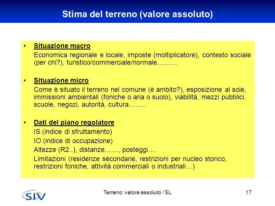 Terreno: valore assoluto / SL17 Stima del terreno (valore assoluto) Situazione macro Economica regionale e locale, imposte (moltiplicatore), contesto