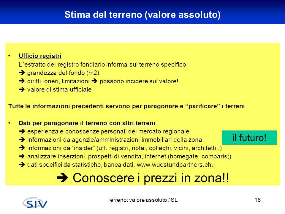 Terreno: valore assoluto / SL18 Stima del terreno (valore assoluto) Ufficio registri L´estratto del registro fondiario informa sul terreno specifico 