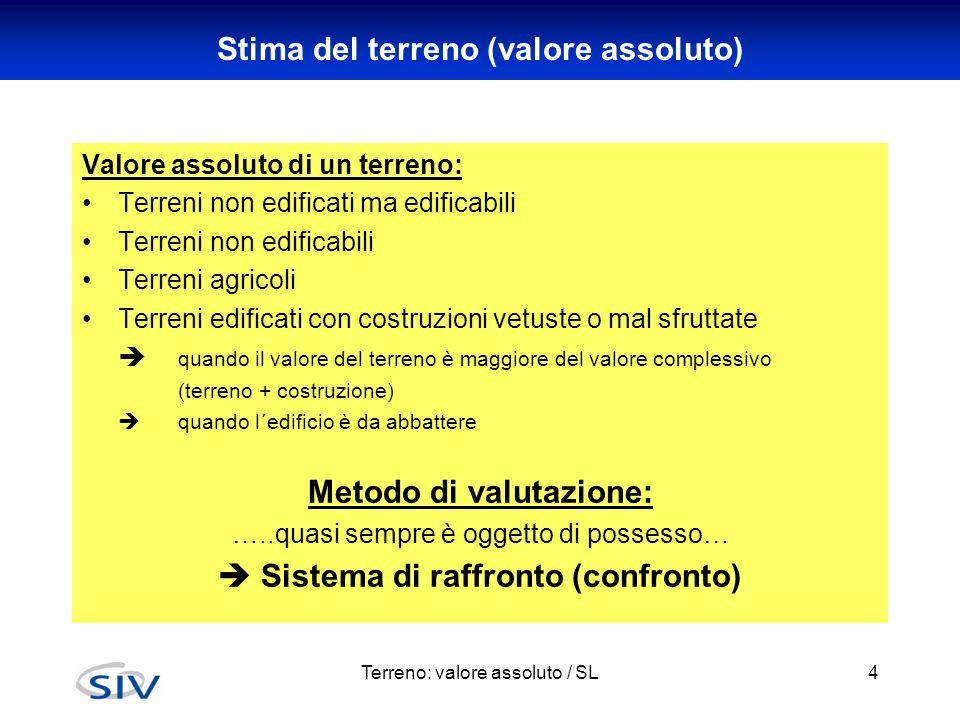 Terreno: valore assoluto / SL4 Stima del terreno (valore assoluto) Valore assoluto di un terreno: Terreni non edificati ma edificabili Terreni non edi