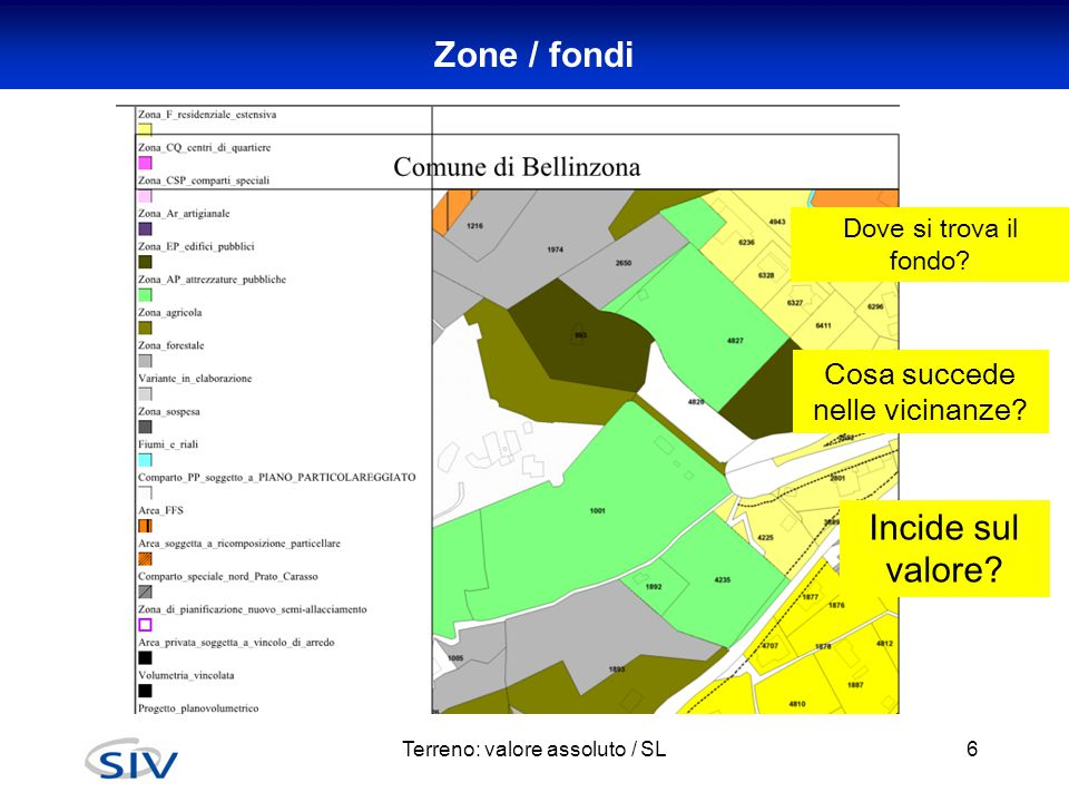 Zone / fondi Terreno: valore assoluto / SL6 Dove si trova il fondo? Cosa succede nelle vicinanze? Incide sul valore?