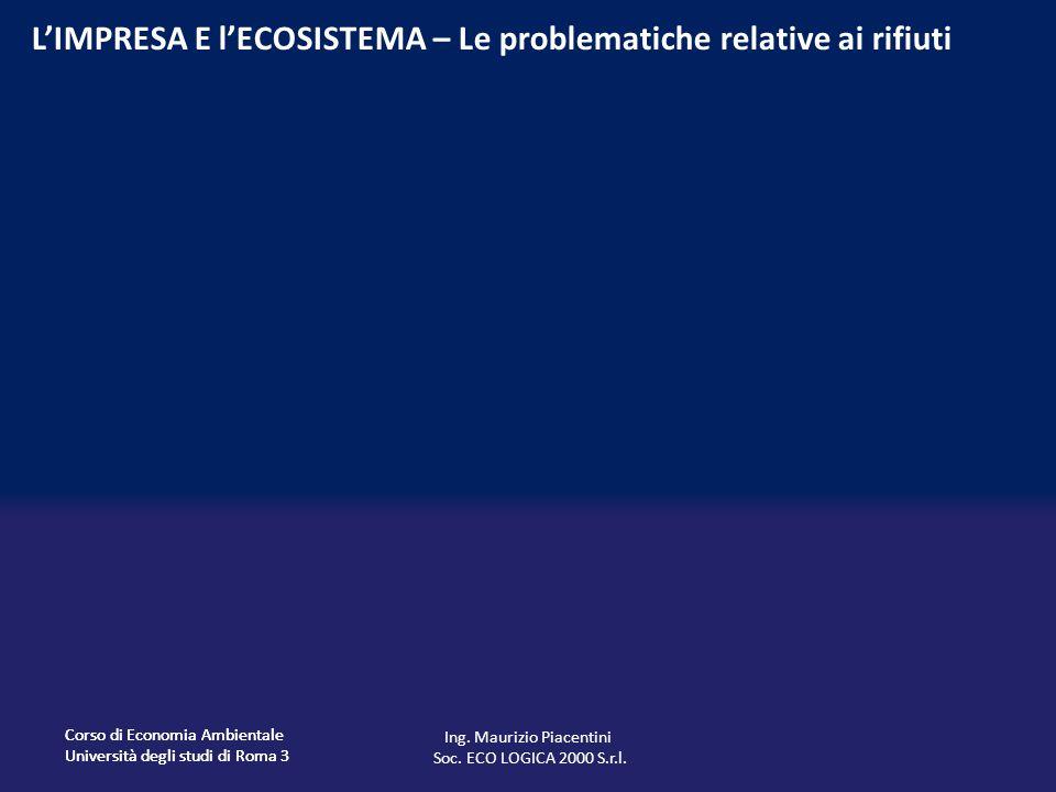 Corso di Economia Ambientale Università degli studi di Roma 3 Corso di Economia Ambientale Università degli studi di Roma 3 L'IMPRESA E l'ECOSISTEMA – Le problematiche relative ai rifiuti Ing.