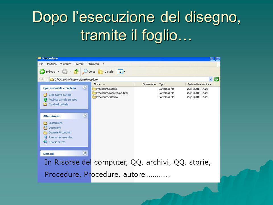 Dopo l'esecuzione del disegno, tramite il foglio… In Risorse del computer, QQ. archivi, QQ. storie, Procedure, Procedure. autore………….