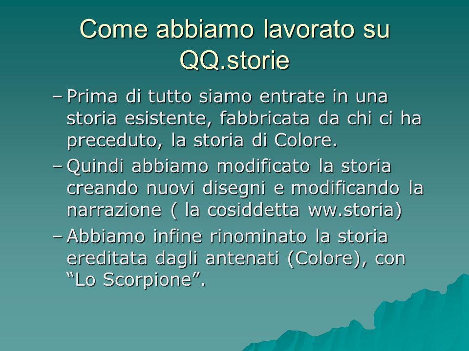 Come abbiamo lavorato su QQ.storie –Prima di tutto siamo entrate in una storia esistente, fabbricata da chi ci ha preceduto, la storia di Colore. –Qui
