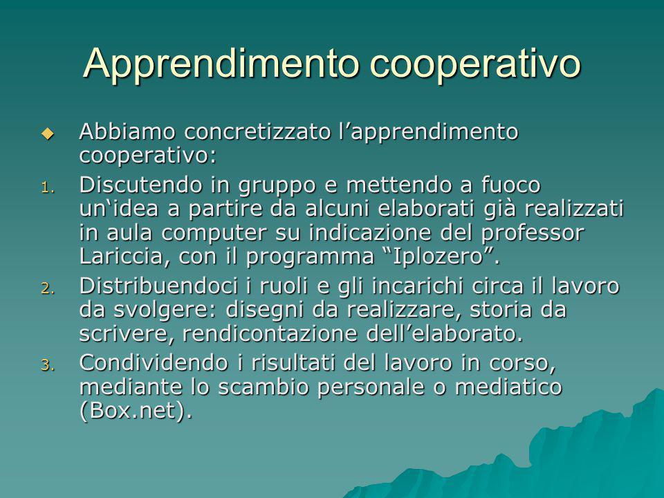 Apprendimento cooperativo  Abbiamo concretizzato l'apprendimento cooperativo: 1. Discutendo in gruppo e mettendo a fuoco un'idea a partire da alcuni