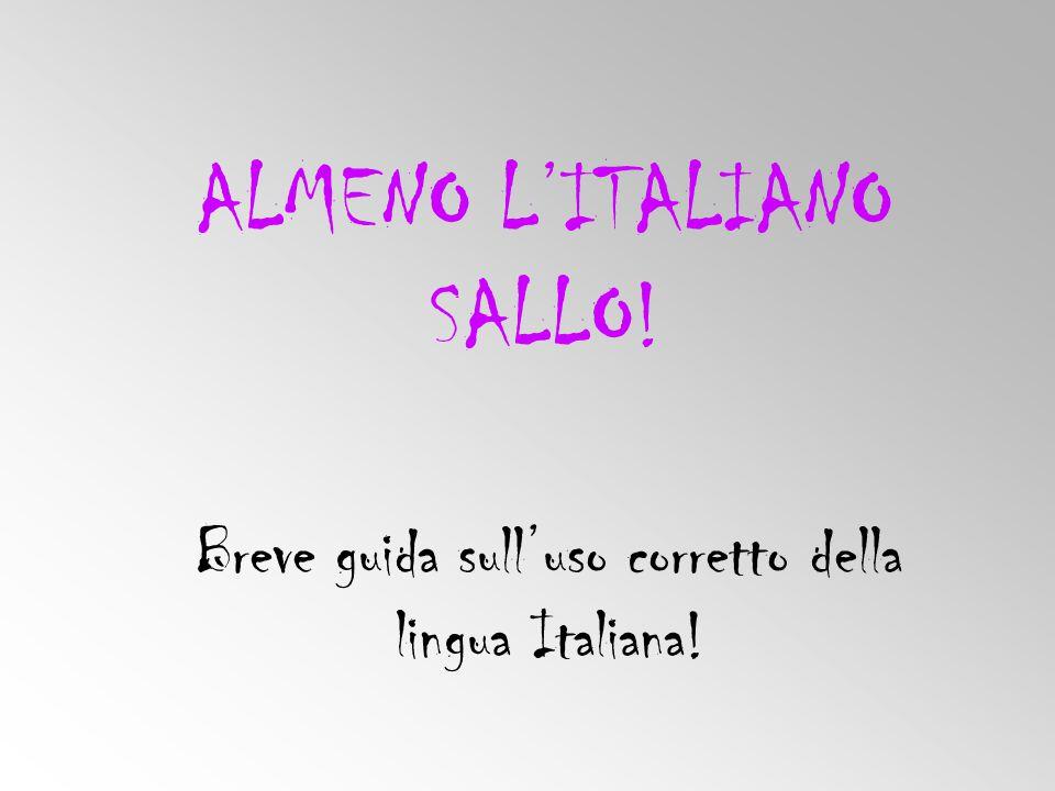 ALMENO L'ITALIANO SALLO! Breve guida sull'uso corretto della lingua Italiana!