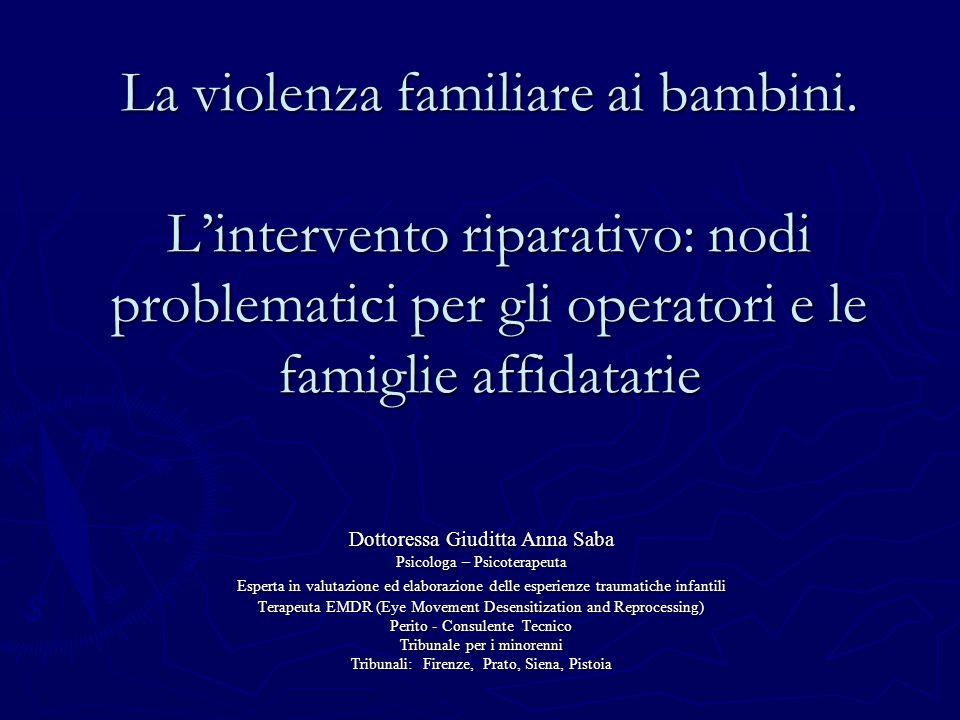 La violenza familiare ai bambini.