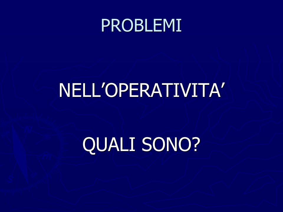 PROBLEMI NELL'OPERATIVITA' QUALI SONO