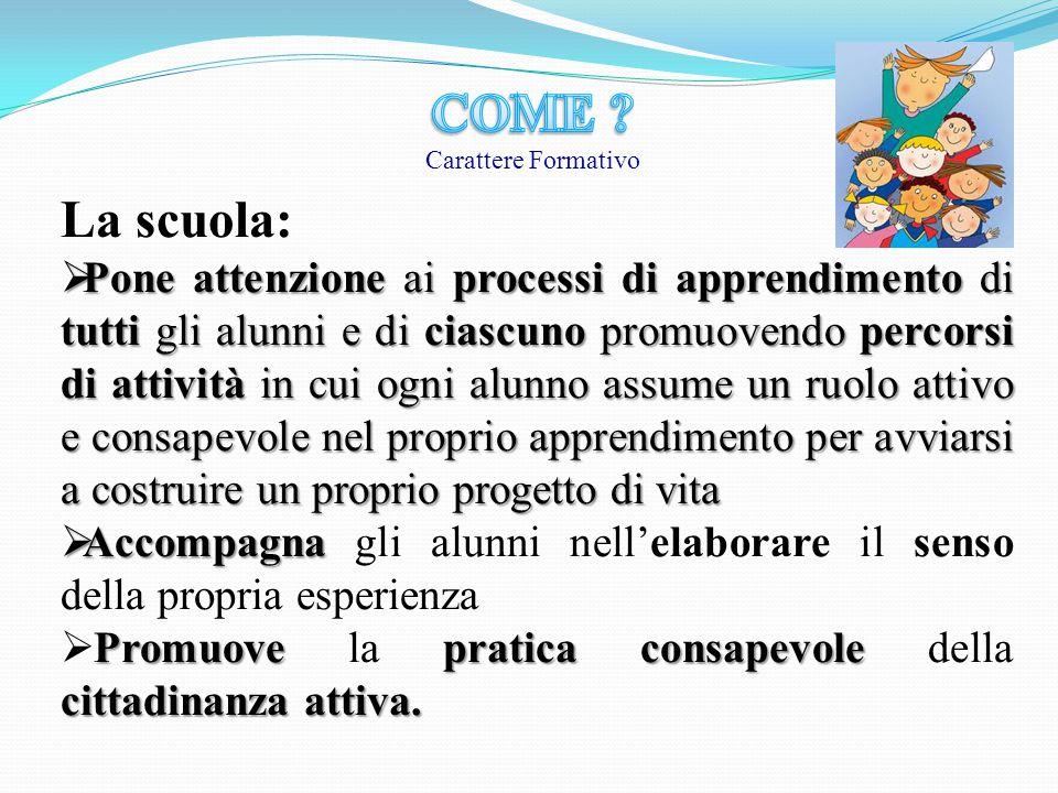 La scuola:  Pone attenzione ai processi di apprendimento di tutti gli alunni e di ciascuno promuovendo percorsi di attività in cui ogni alunno assume
