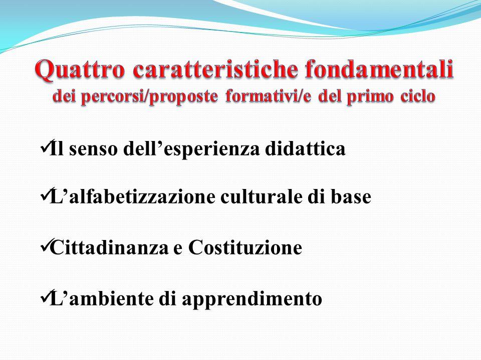 Il senso dell'esperienza didattica L'alfabetizzazione culturale di base Cittadinanza e Costituzione L'ambiente di apprendimento
