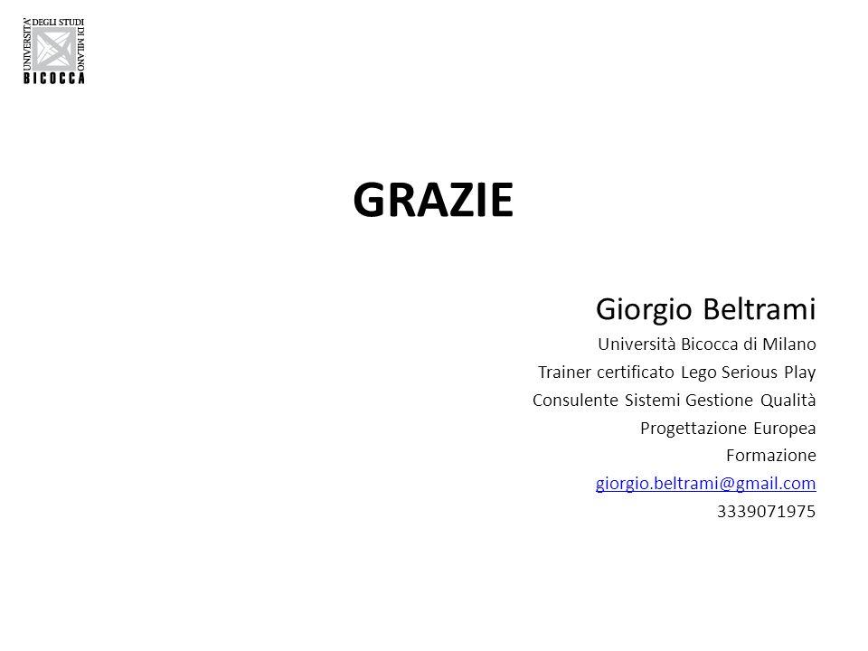 GRAZIE Giorgio Beltrami Università Bicocca di Milano Trainer certificato Lego Serious Play Consulente Sistemi Gestione Qualità Progettazione Europea F