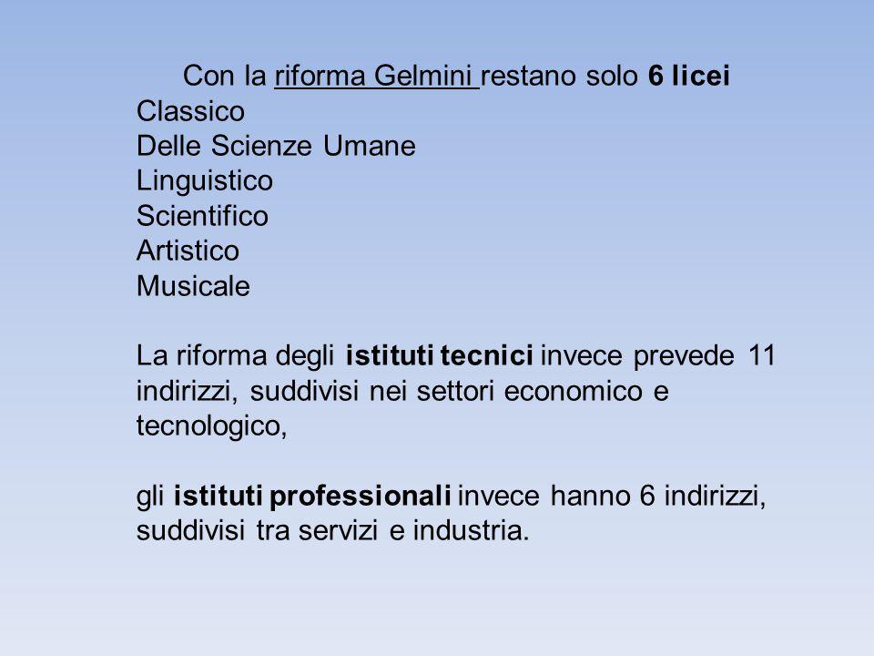Con la riforma Gelmini restano solo 6 licei Classico Delle Scienze Umane Linguistico Scientifico Artistico Musicale La riforma degli istituti tecnici invece prevede 11 indirizzi, suddivisi nei settori economico e tecnologico, gli istituti professionali invece hanno 6 indirizzi, suddivisi tra servizi e industria.