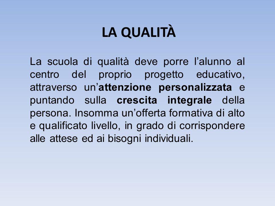 La scuola di qualità deve porre l'alunno al centro del proprio progetto educativo, attraverso un'attenzione personalizzata e puntando sulla crescita integrale della persona.