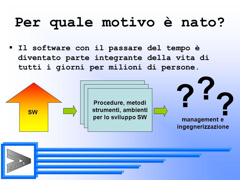 Manutenzione (5.5)  Lo scopo è quello di modificare il software già esistente mantenendone l'integrità.