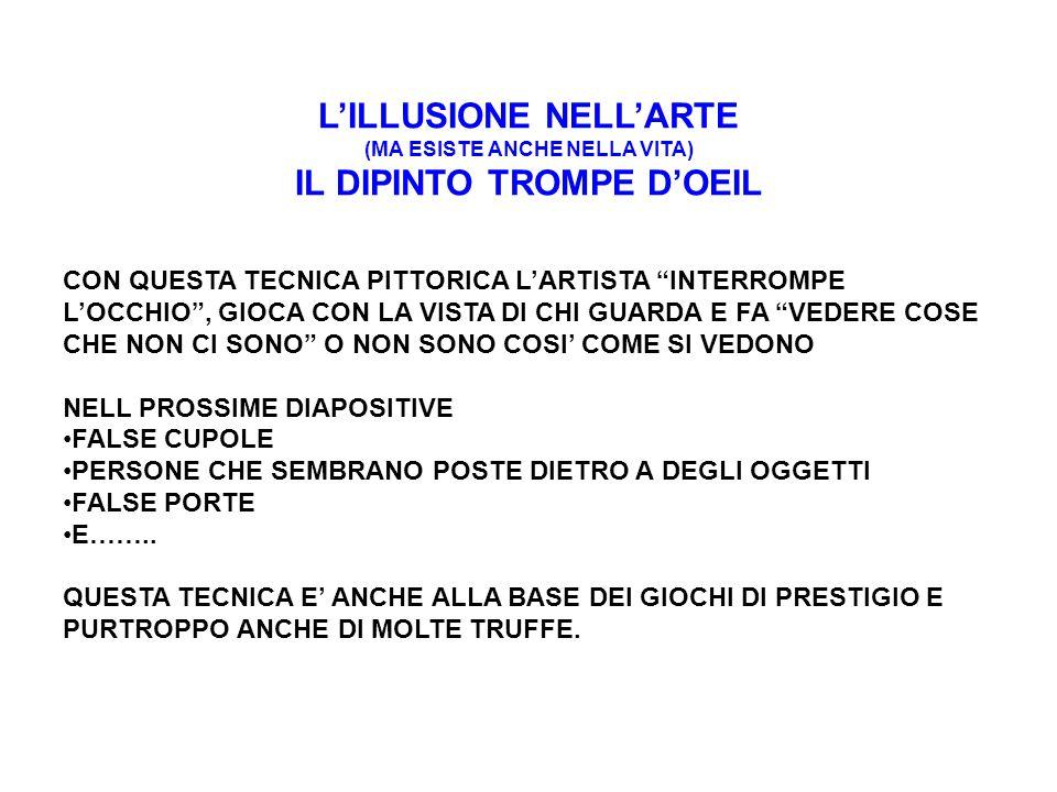L'ILLUSIONE NELL'ARTE IL DIPINTO TROMPE D'OEIL Falsa cupola a Sant Ignazio, Roma LA CUPOLA NON ESISTE E' SOLO DISEGNATA