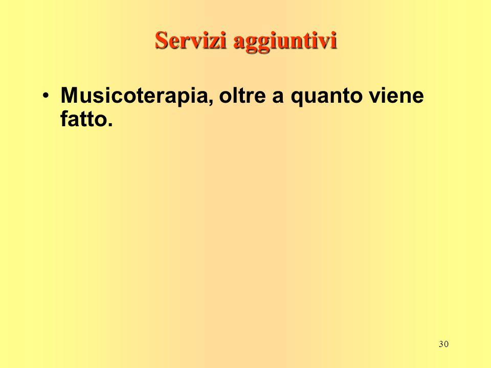 30 Servizi aggiuntivi Musicoterapia, oltre a quanto viene fatto.