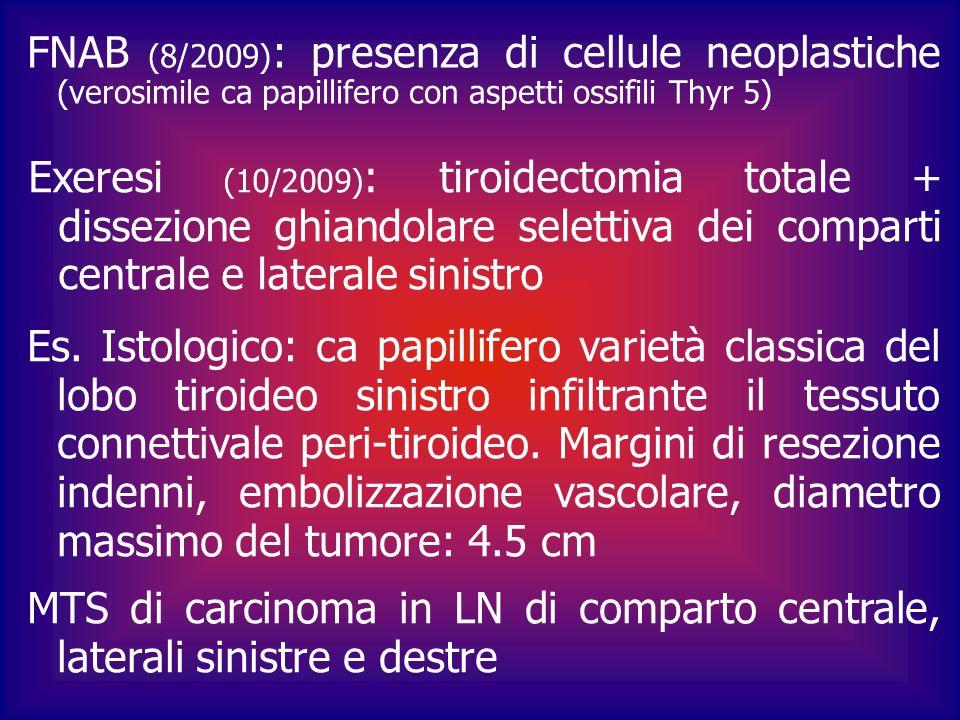 FNAB (8/2009) : presenza di cellule neoplastiche (verosimile ca papillifero con aspetti ossifili Thyr 5) Exeresi (10/2009) : tiroidectomia totale + d