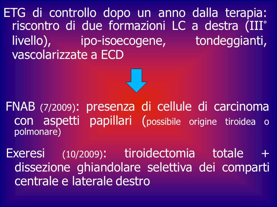 ETG di controllo dopo un anno dalla terapia: riscontro di due formazioni LC a destra (III° livello), ipo-isoecogene, tondeggianti, vascolarizzate a EC