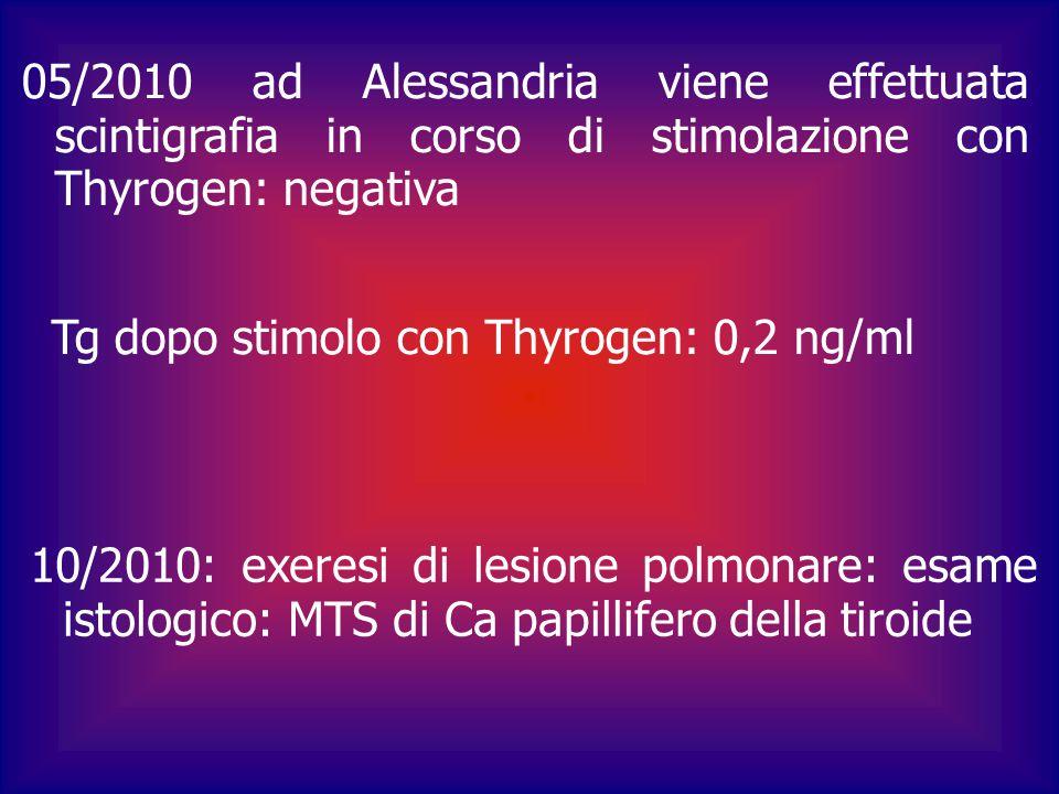 Gennaio 2011: test al Thyrogen negativo ETG collo: negativa TC torace esiti cicatriziali a livello del lobo superiore destro con strie fibrotiche TSH: 0,036 microU/ml, fT4: 14.3 ng/dl, Tg<0,1, AbHTG: 11 Si riduce tiroxina per stato menopausale e test al Thyrogen negativo Prossimo controllo novembre 2011