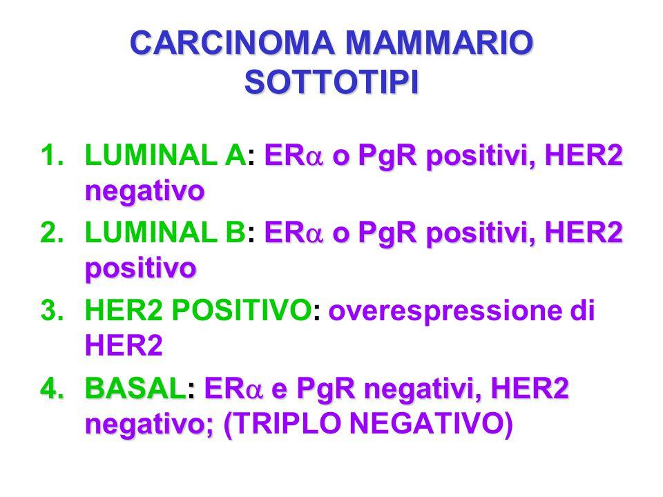 CARCINOMA MAMMARIO SOTTOTIPI ER  o PgR positivi, HER2 negativo 1.LUMINAL A: ER  o PgR positivi, HER2 negativo ER  o PgR positivi, HER2 positivo 2.L
