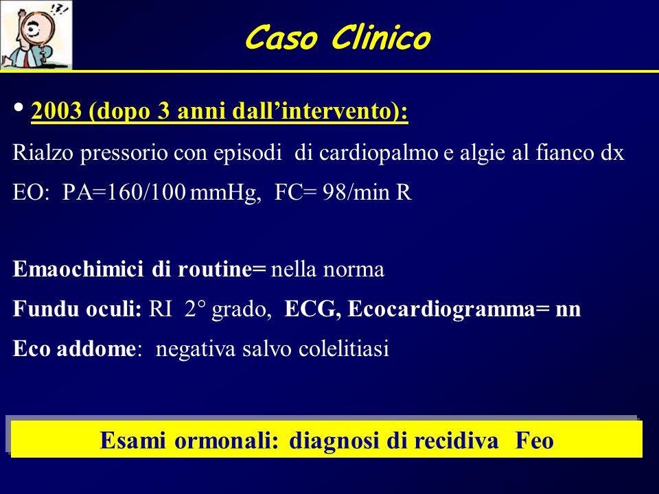 2003 (dopo 3 anni dall'intervento): Rialzo pressorio con episodi di cardiopalmo e algie al fianco dx EO: PA=160/100 mmHg, FC= 98/min R Emaochimici di